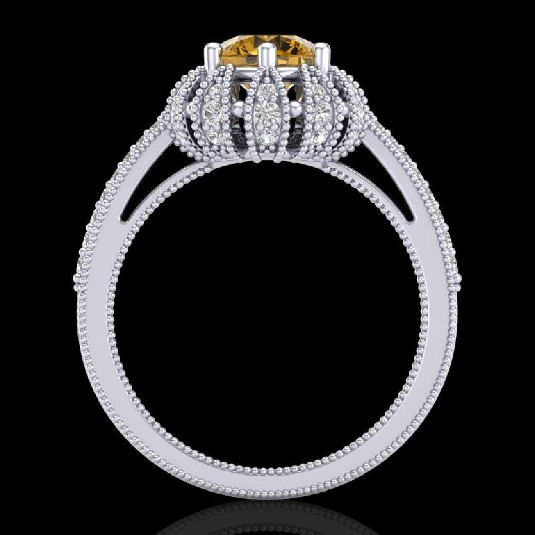 1.65 CTW Intense Fancy Yellow Diamond Engagement Art - 3