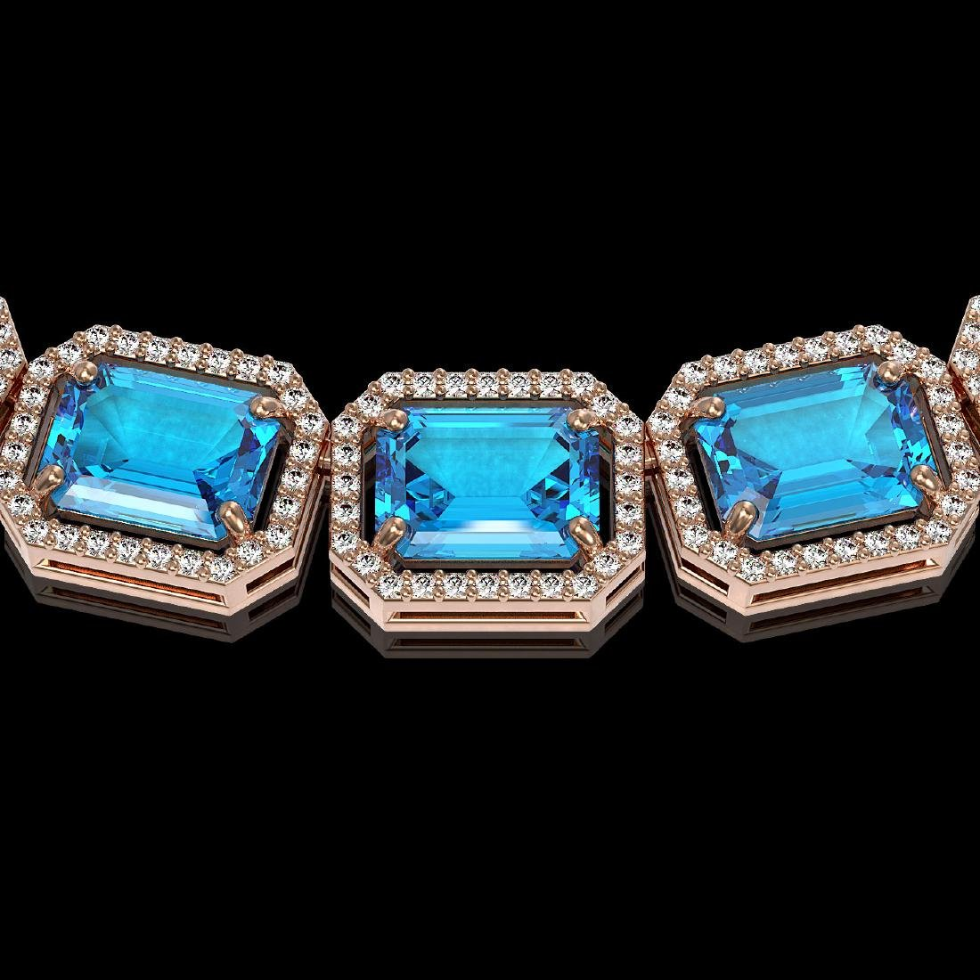 79.01 CTW Swiss Topaz & Diamond Halo Necklace 10K Rose - 2