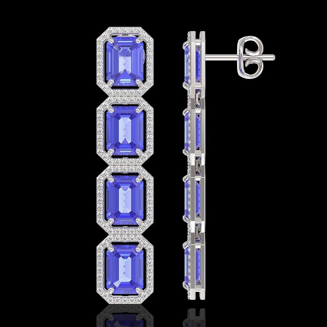 19.39 CTW Tanzanite & Diamond Halo Earrings 10K White - 2