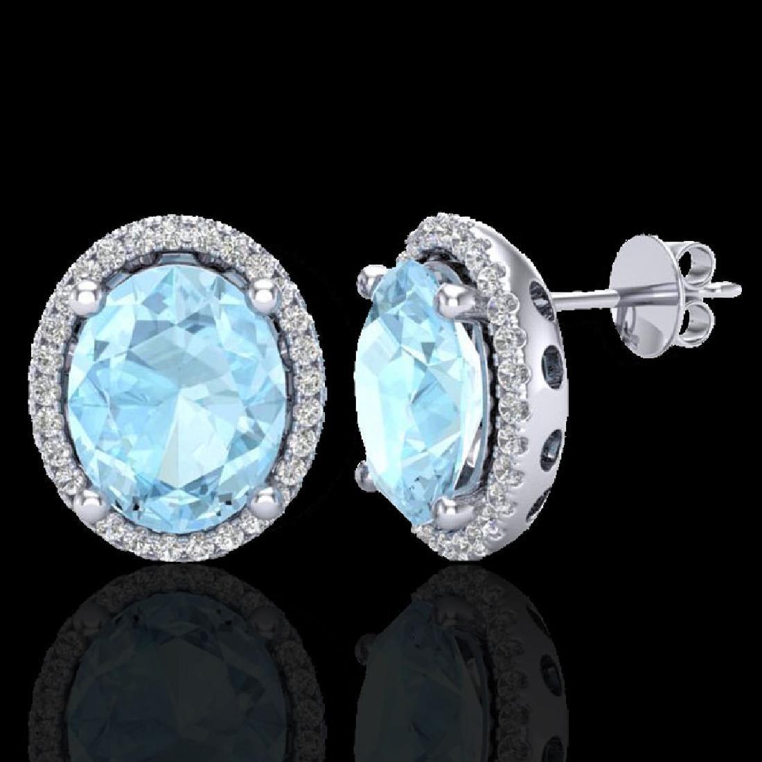 5 CTW Aquamarine & Micro Pave VS/SI Diamond Earrings - 2