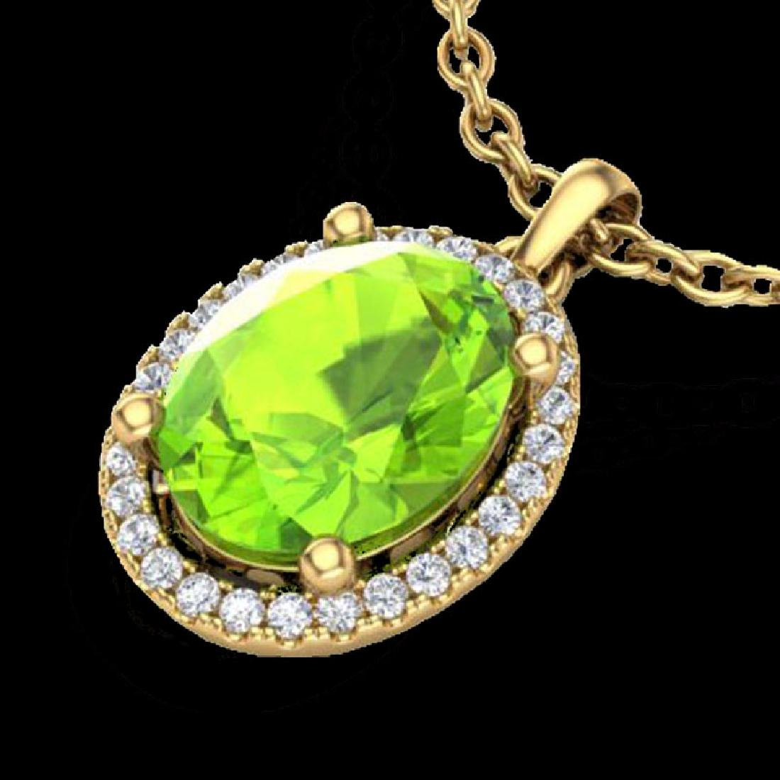 2.50 CTW Peridot & Micro Pave VS/SI Diamond Necklace