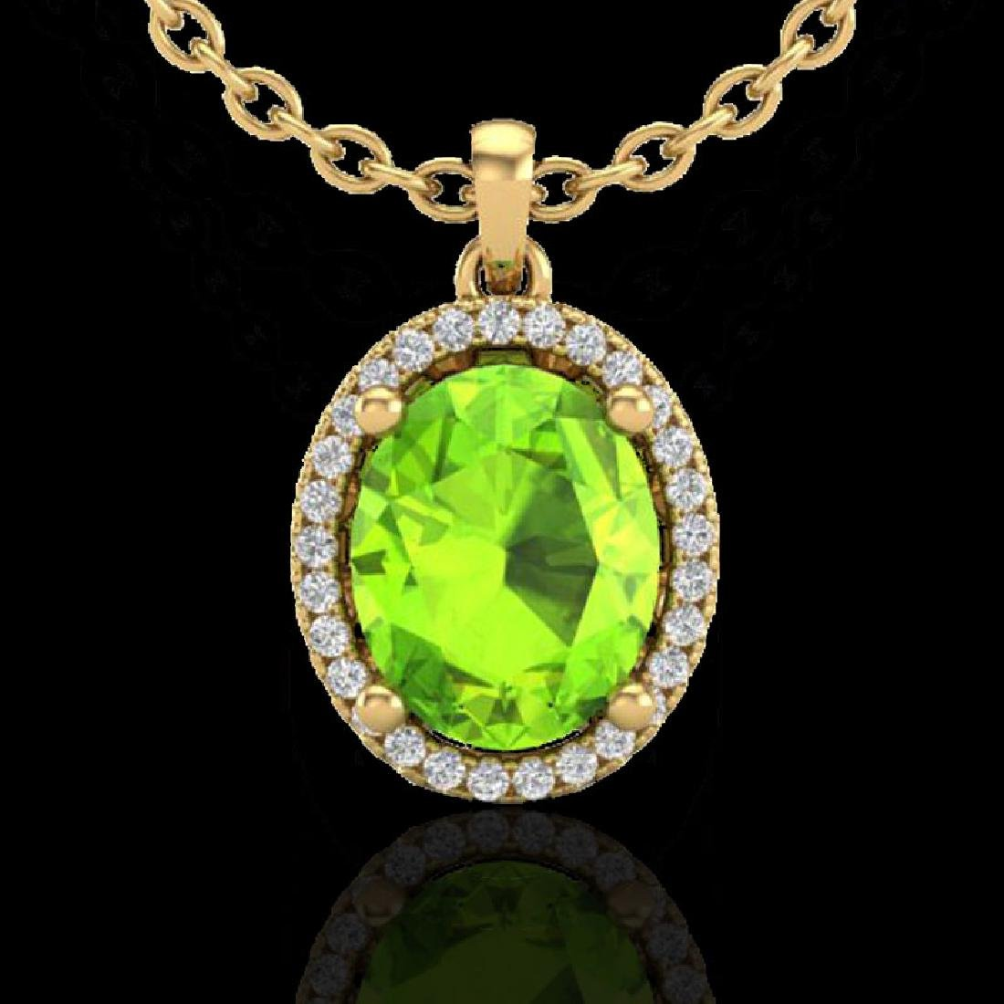 2.50 CTW Peridot & Micro Pave VS/SI Diamond Necklace - 2