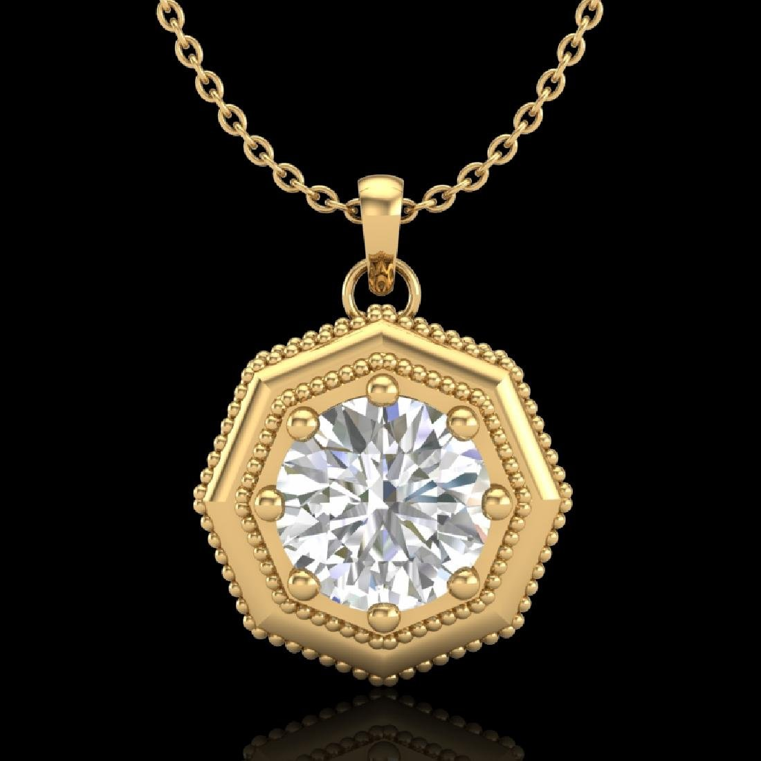 0.75 CTW VS/SI Diamond Solitaire Art Deco Necklace 18K
