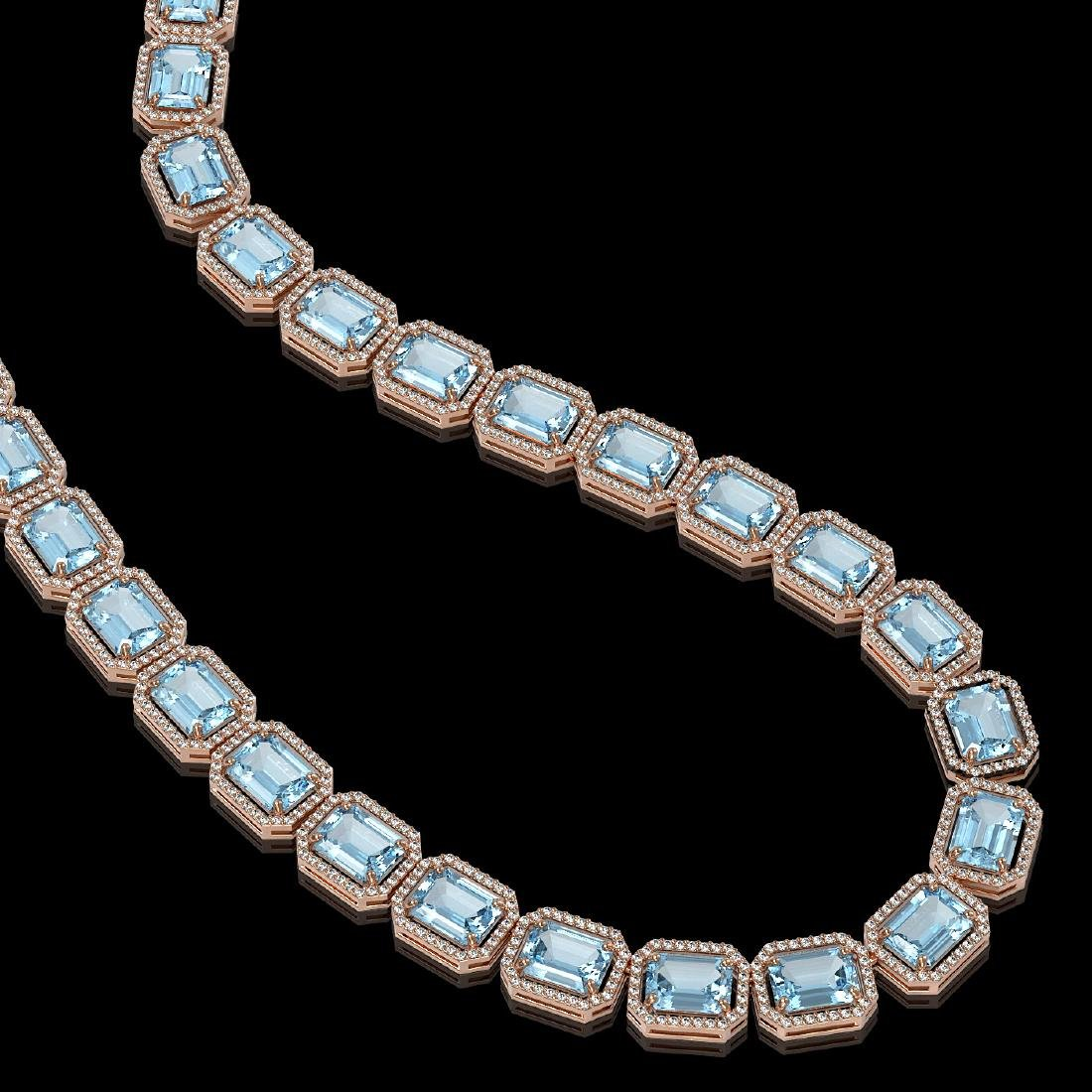 80.98 CTW Aquamarine & Diamond Halo Necklace 10K Rose - 2