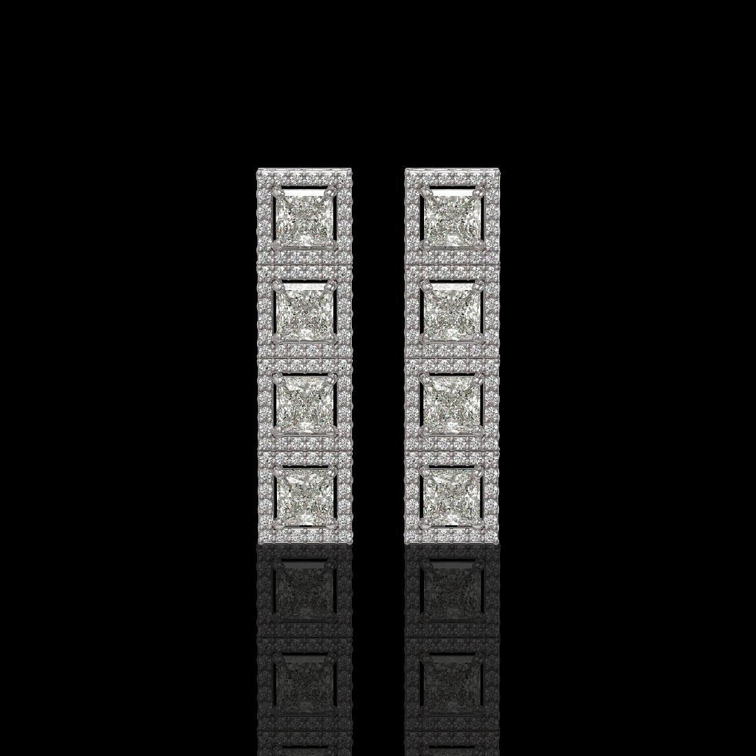 5.31 CTW Princess Diamond Designer Earrings 18K White