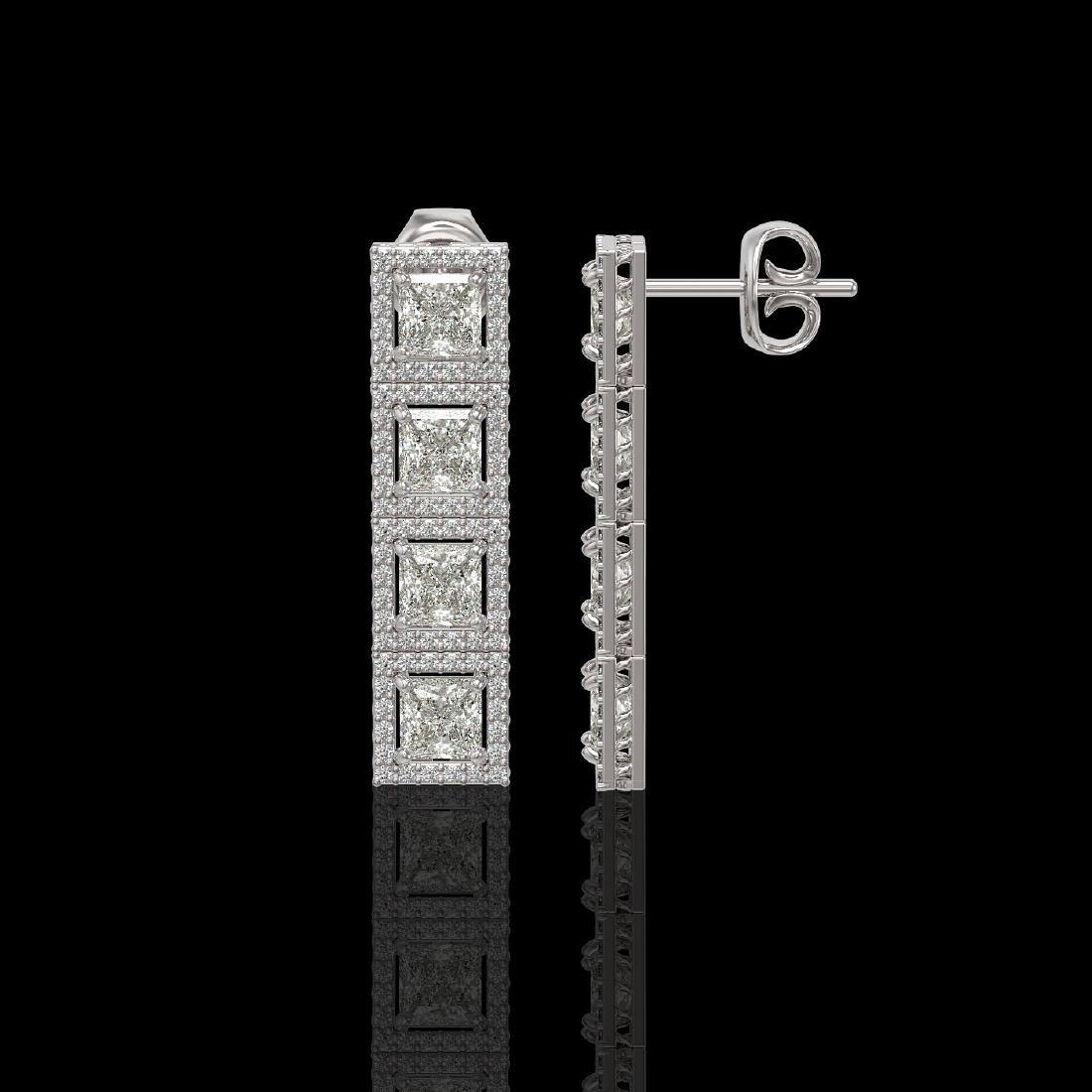 5.31 CTW Princess Diamond Designer Earrings 18K White - 2