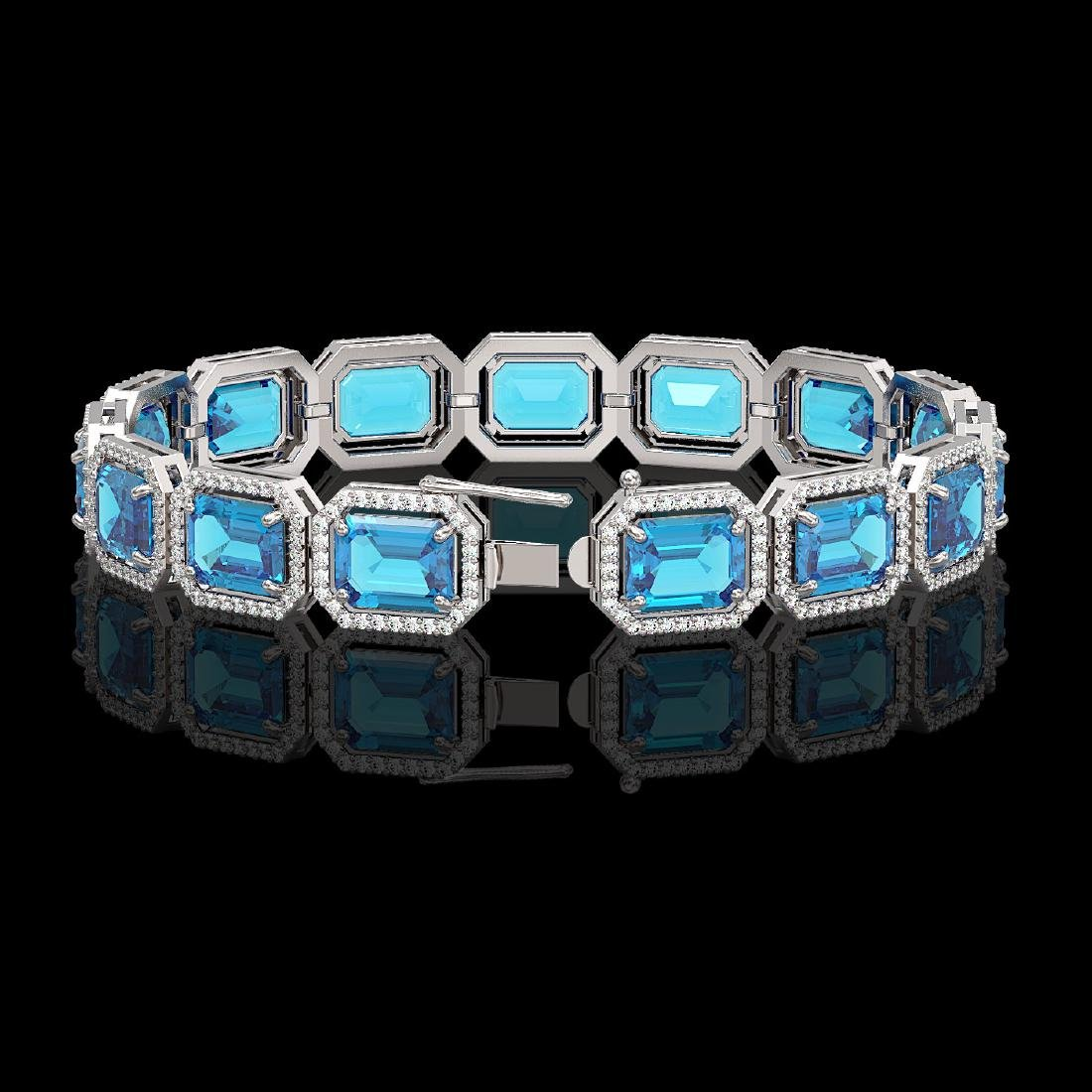 35.61 CTW Swiss Topaz & Diamond Halo Bracelet 10K White - 2