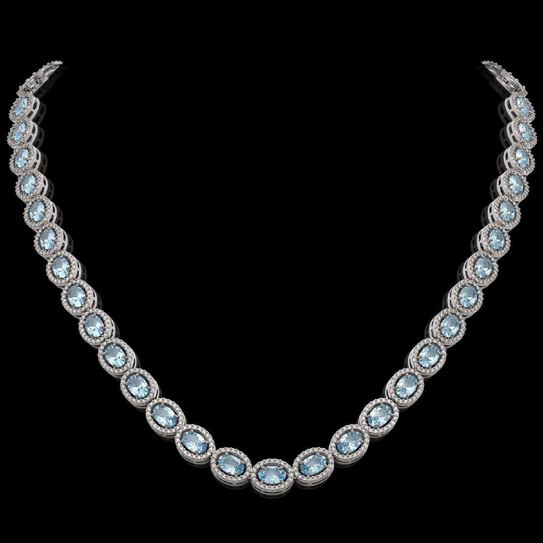 24.65 CTW Aquamarine & Diamond Halo Necklace 10K White