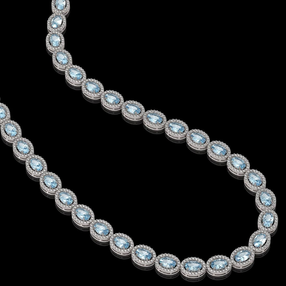 24.65 CTW Aquamarine & Diamond Halo Necklace 10K White - 2