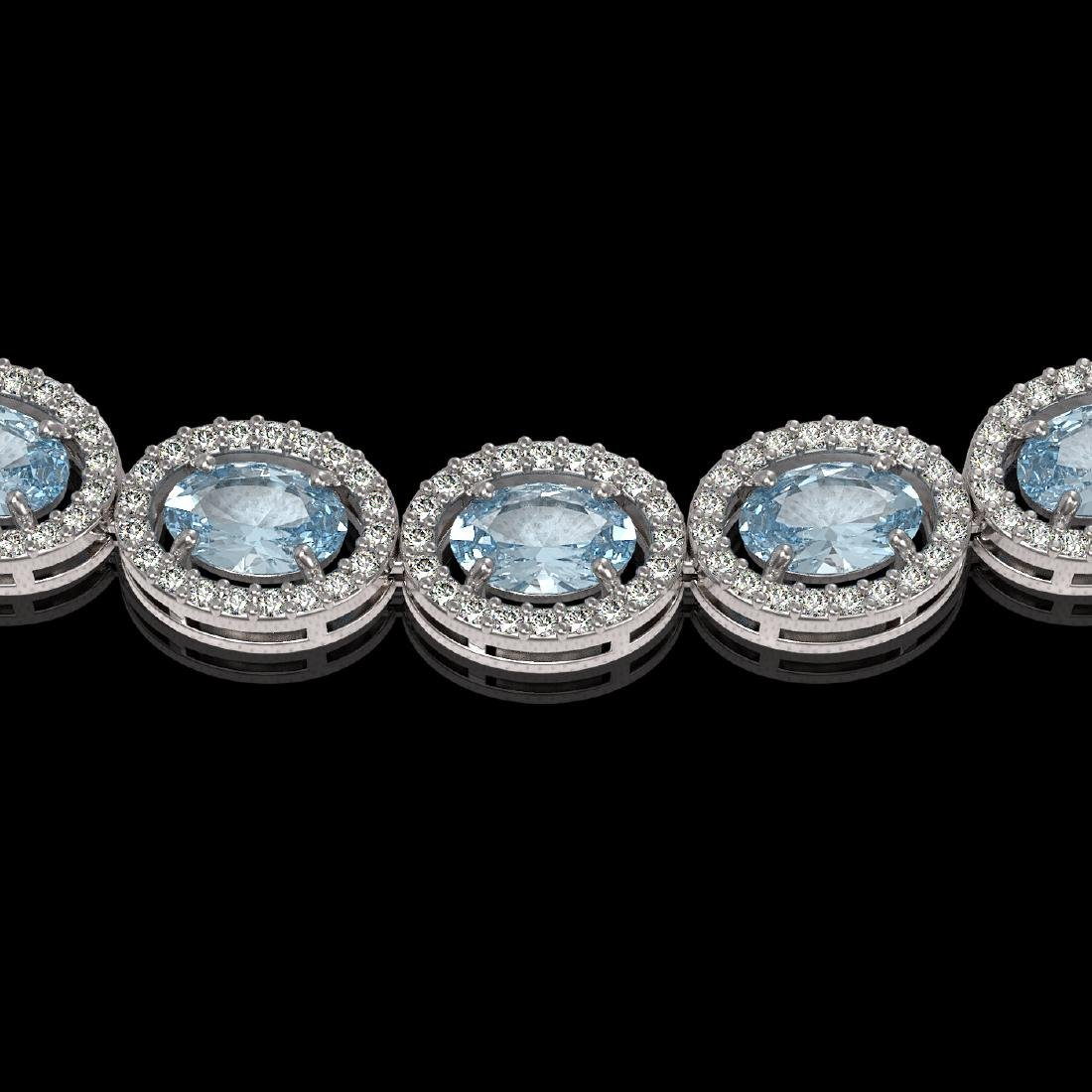 24.65 CTW Aquamarine & Diamond Halo Necklace 10K White - 3
