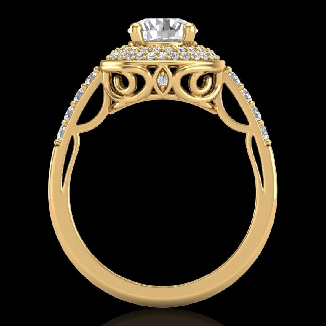 1.7 CTW VS/SI Diamond Solitaire Art Deco Ring 18K