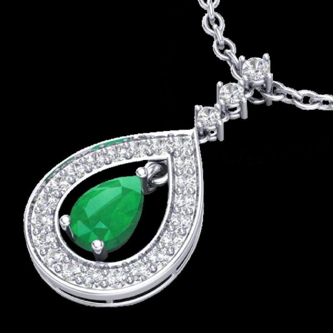 1.15 CTW Emerald & Micro Pave VS/SI Diamond Necklace