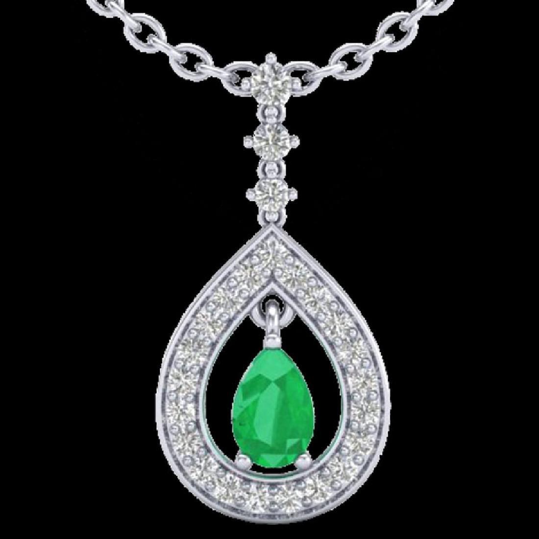1.15 CTW Emerald & Micro Pave VS/SI Diamond Necklace - 2