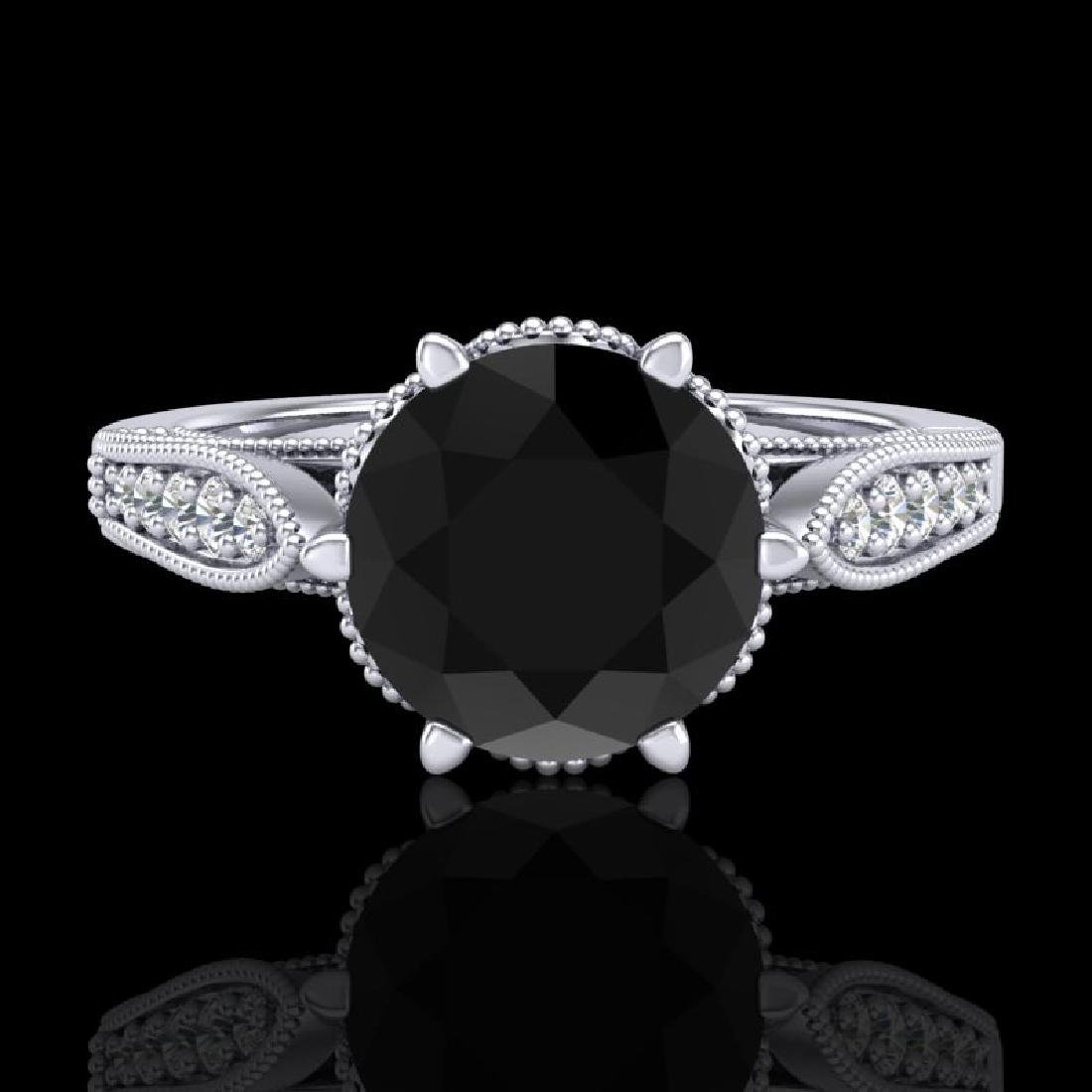 2.2 CTW Fancy Black Diamond Solitaire Engagement Art - 2