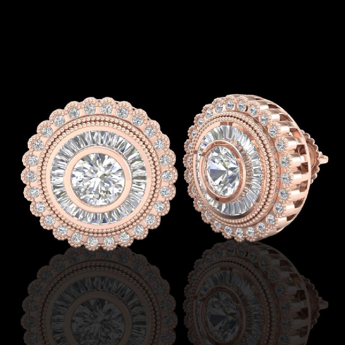 2.61 CTW VS/SI Diamond Solitaire Art Deco Stud Earrings - 2