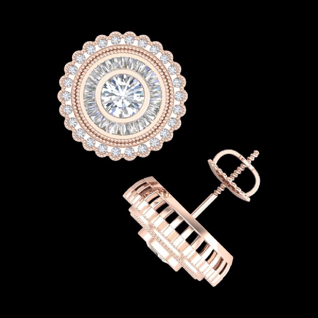 2.61 CTW VS/SI Diamond Solitaire Art Deco Stud Earrings - 3