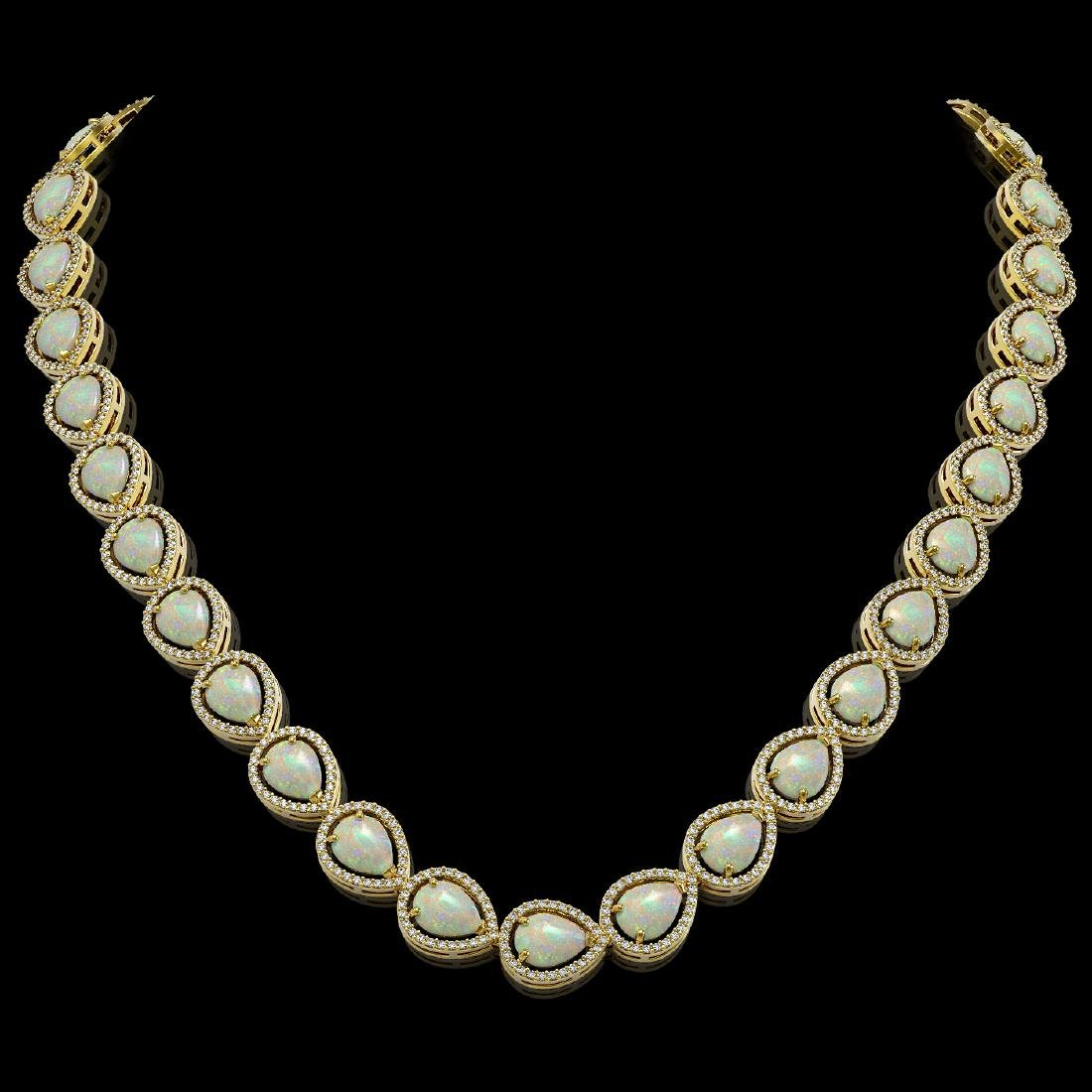 36.48 CTW Opal & Diamond Halo Necklace 10K Yellow Gold