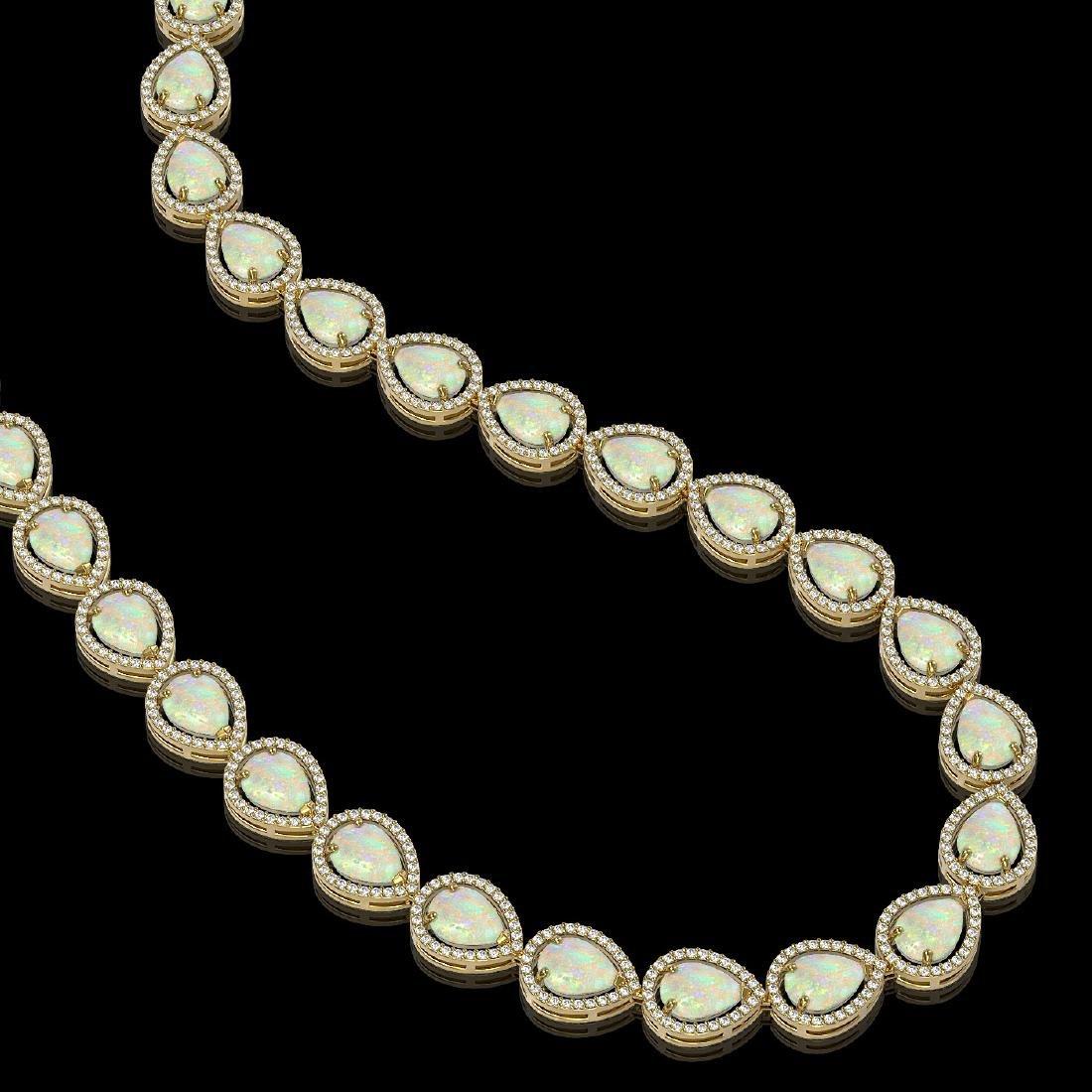 36.48 CTW Opal & Diamond Halo Necklace 10K Yellow Gold - 2