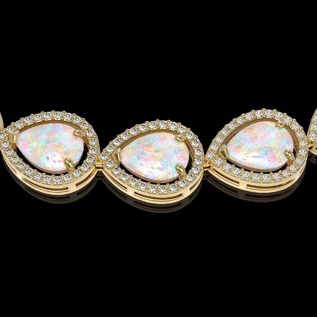 36.48 CTW Opal & Diamond Halo Necklace 10K Yellow Gold - 3