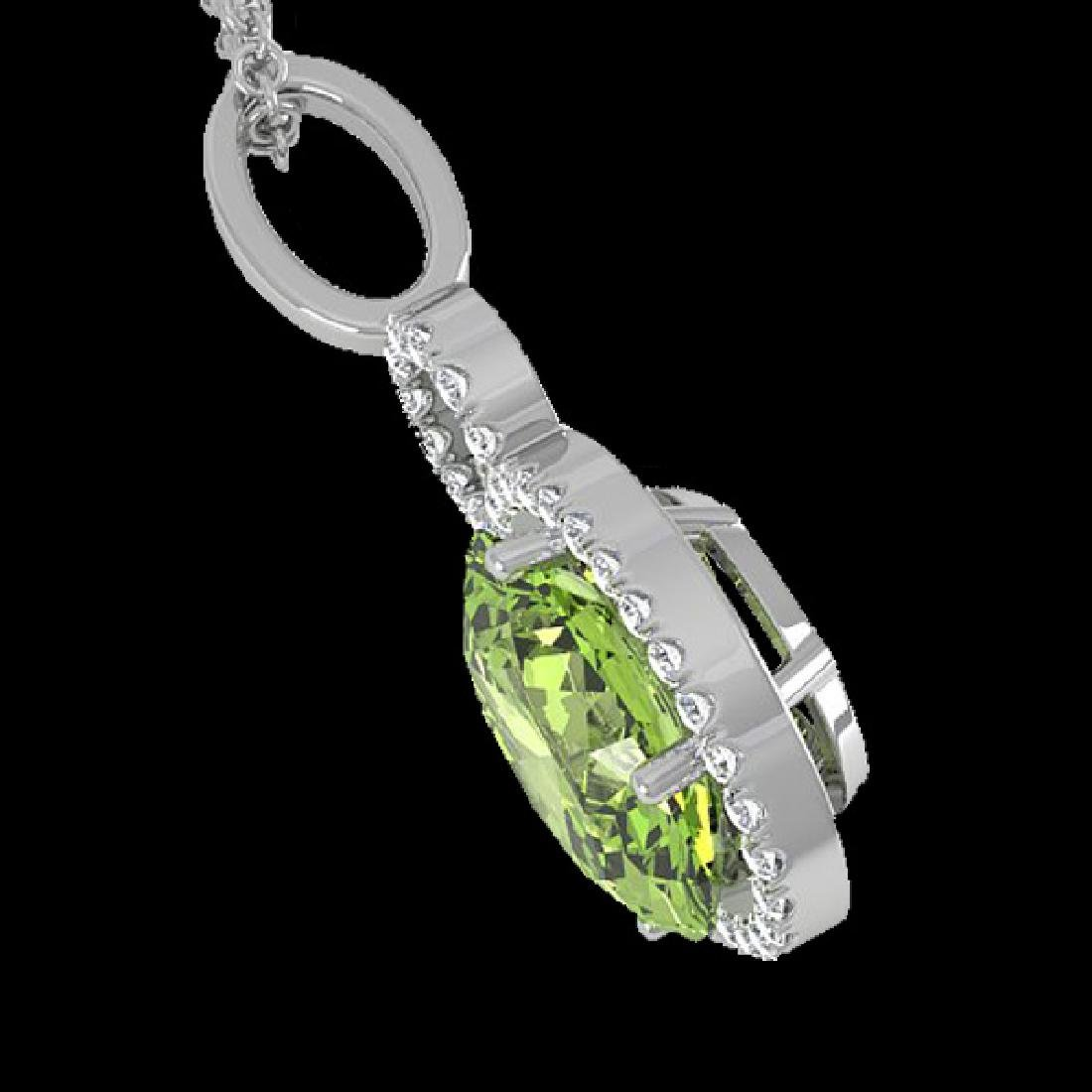 3 CTW Peridot & Micro Pave Solitaire Halo VS/SI Diamond - 2