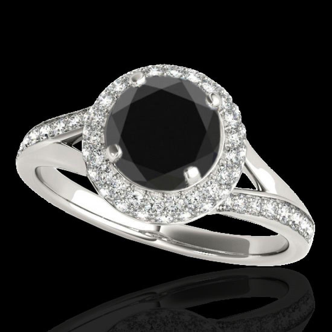 1.85 CTW Certified VS Black Diamond Solitaire Halo Ring
