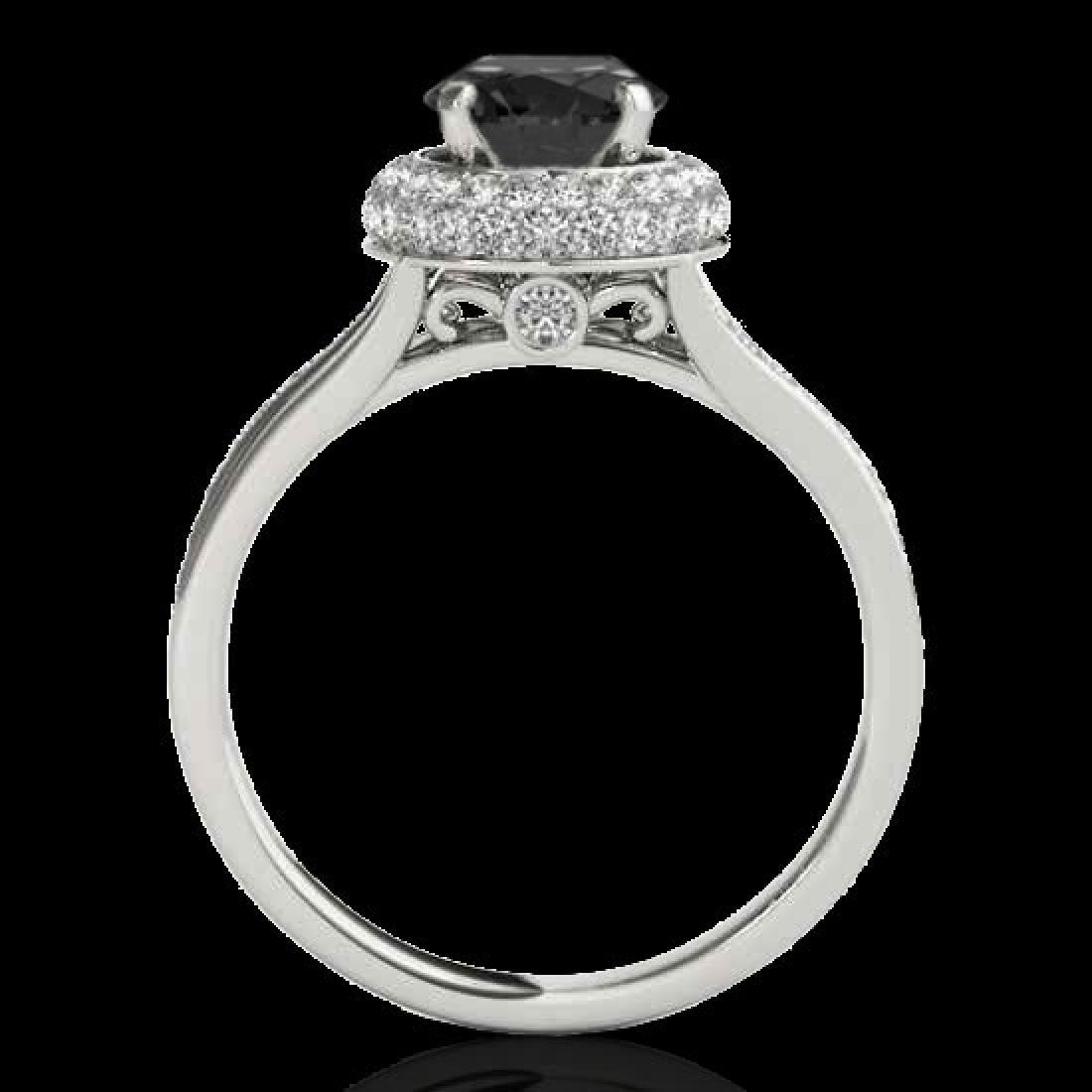 1.85 CTW Certified VS Black Diamond Solitaire Halo Ring - 2