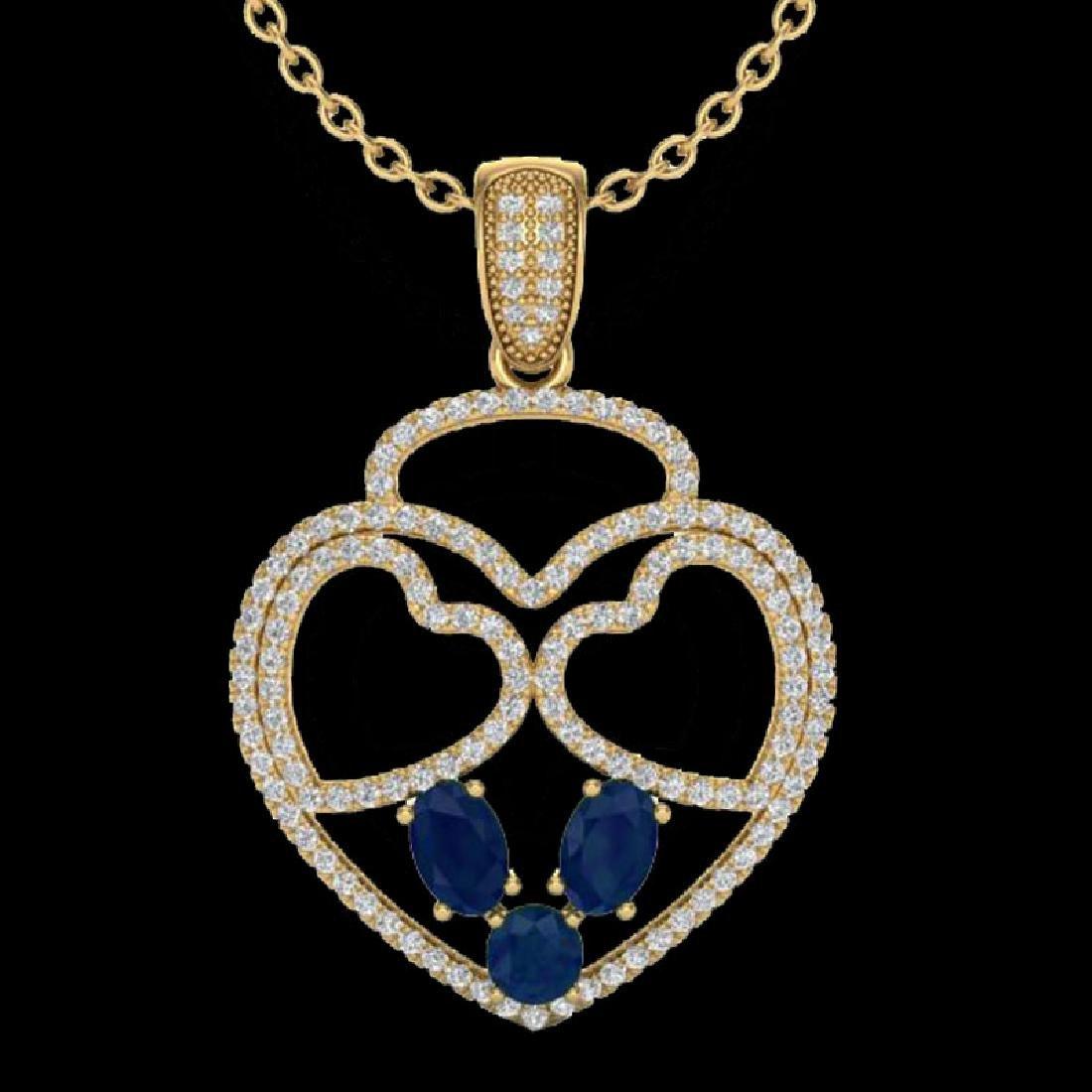 3 CTW Sapphire & Micro Pave Designer Inspired Heart - 2