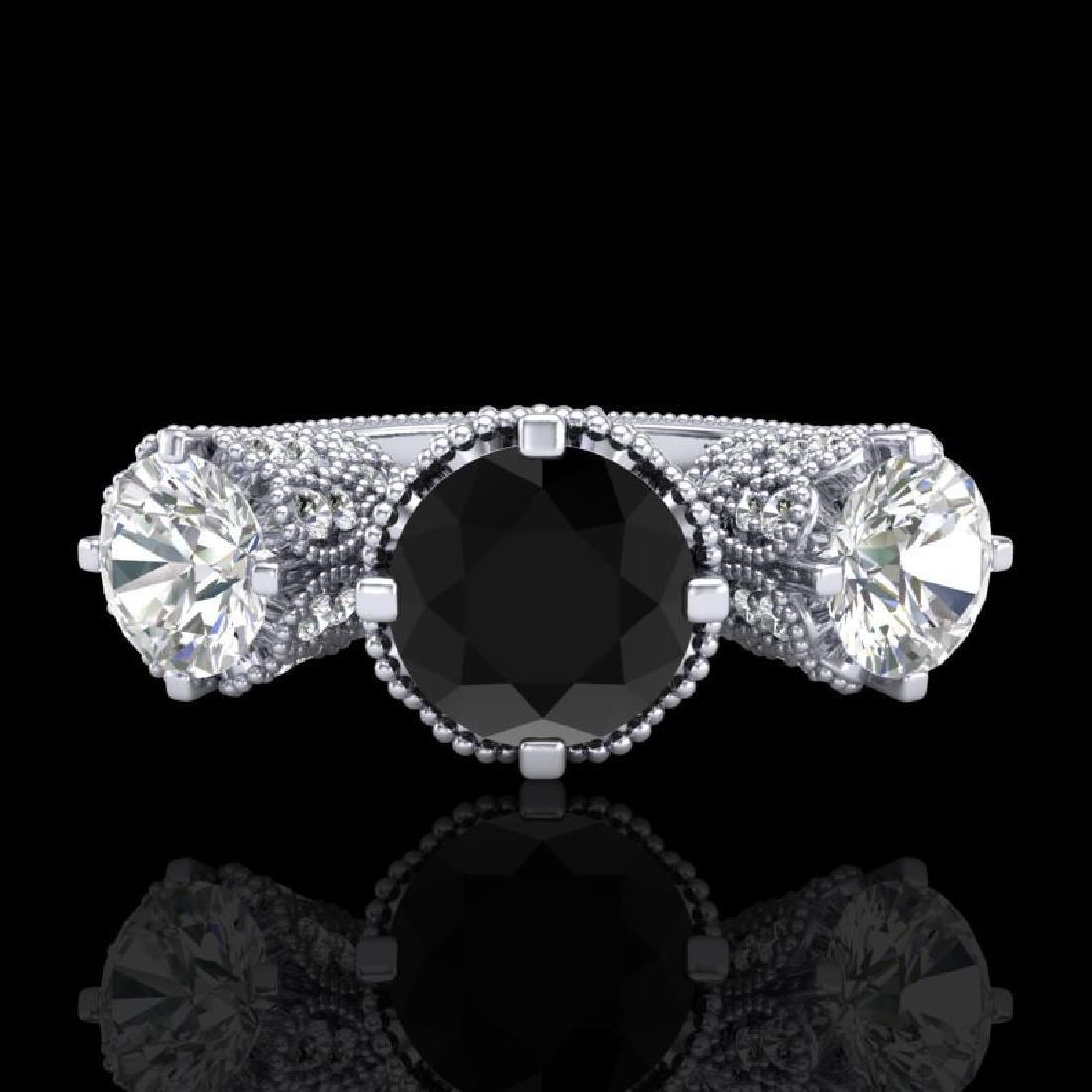 3.06 CTW Fancy Black Diamond Solitaire Art Deco 3 Stone - 2