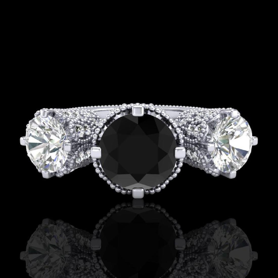 3.06 CTW Fancy Black Diamond Solitaire Art Deco 3 Stone - 2
