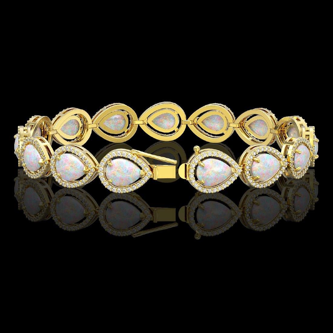 17.15 CTW Opal & Diamond Halo Bracelet 10K Yellow Gold - 2