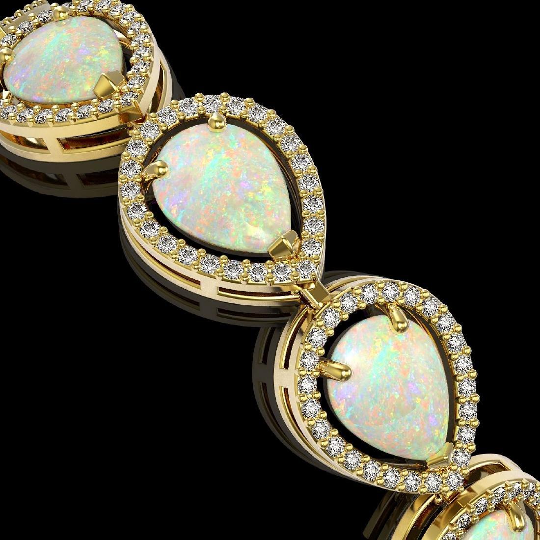 17.15 CTW Opal & Diamond Halo Bracelet 10K Yellow Gold - 3