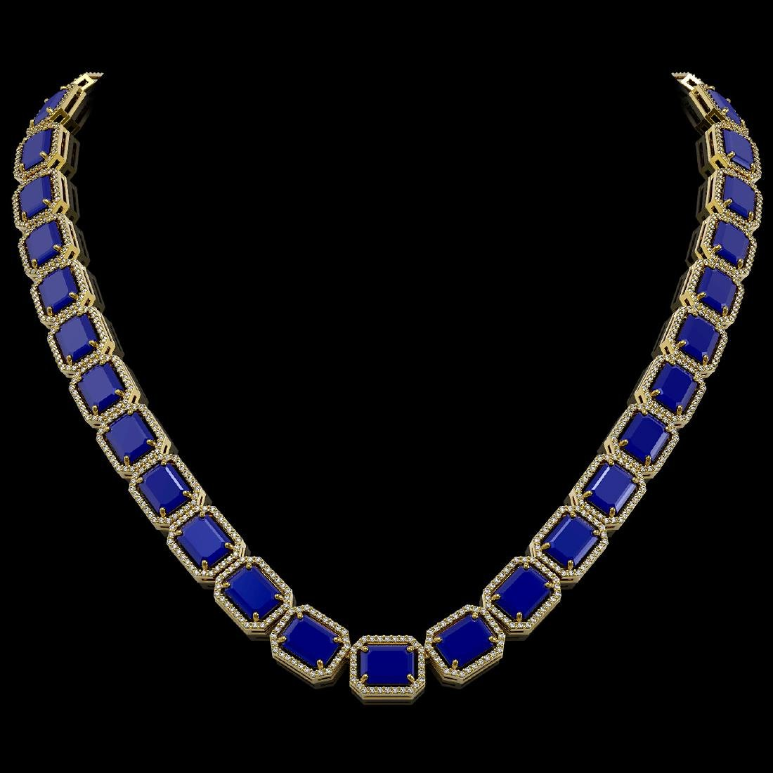 84.94 CTW Sapphire & Diamond Halo Necklace 10K Yellow