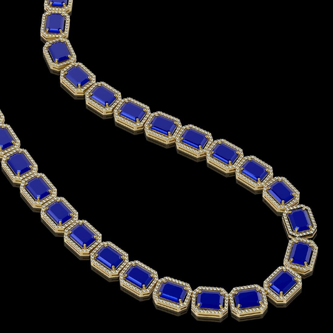 84.94 CTW Sapphire & Diamond Halo Necklace 10K Yellow - 2