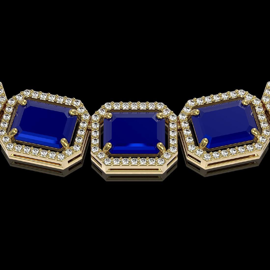 84.94 CTW Sapphire & Diamond Halo Necklace 10K Yellow - 3