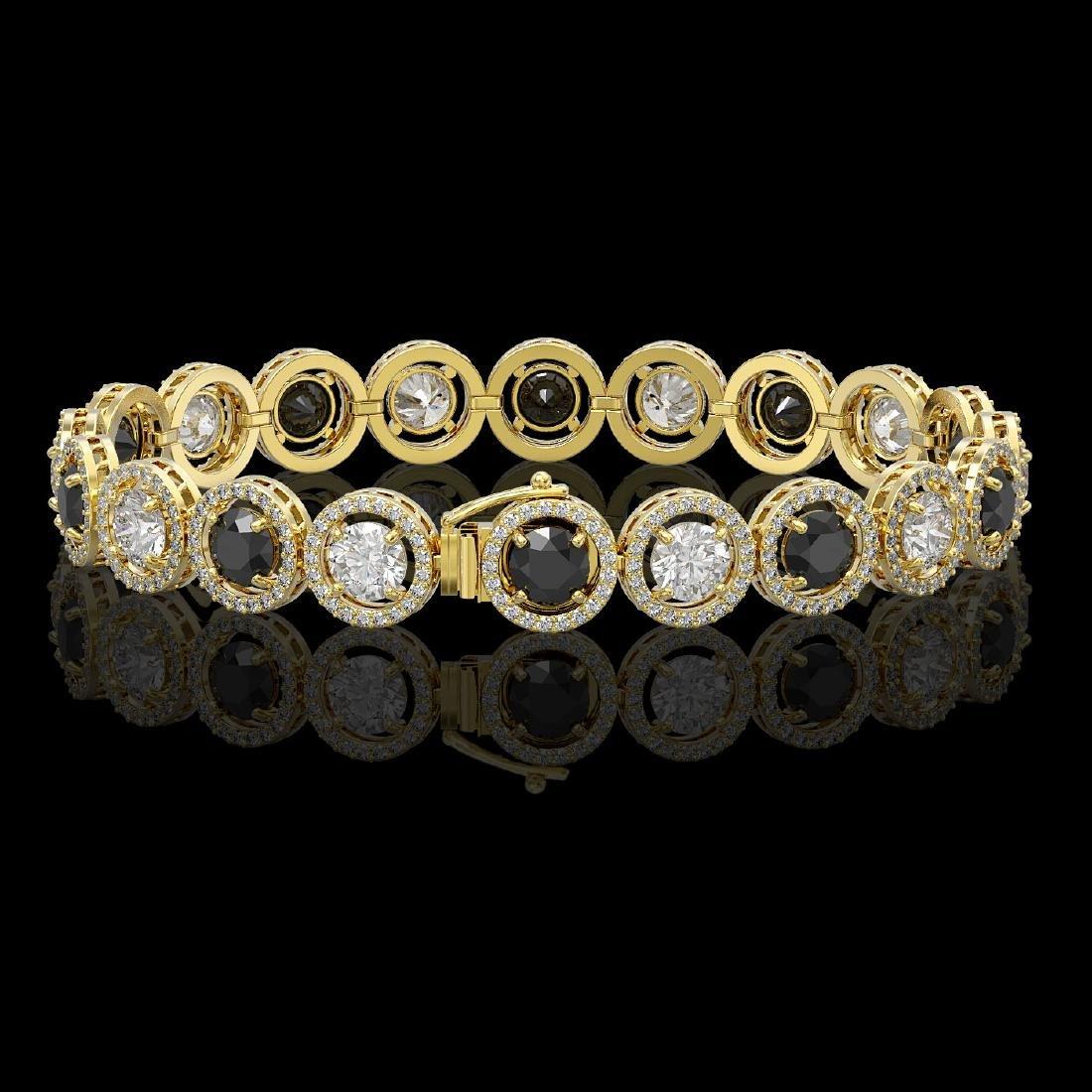 13.96 CTW Black & White Diamond Designer Bracelet 18K - 2