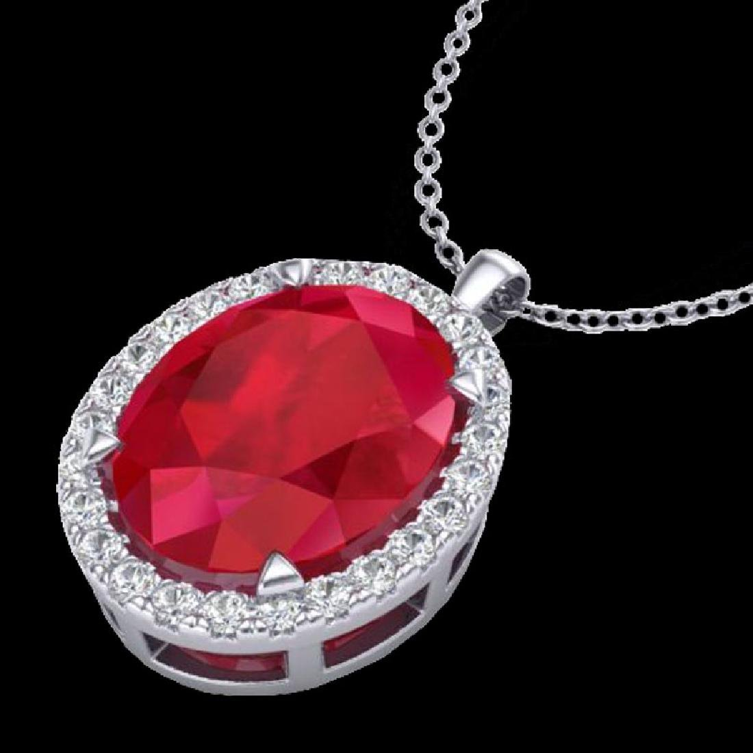 2.75 CTW Ruby & Micro VS/SI Diamond Halo Necklace 18K - 2