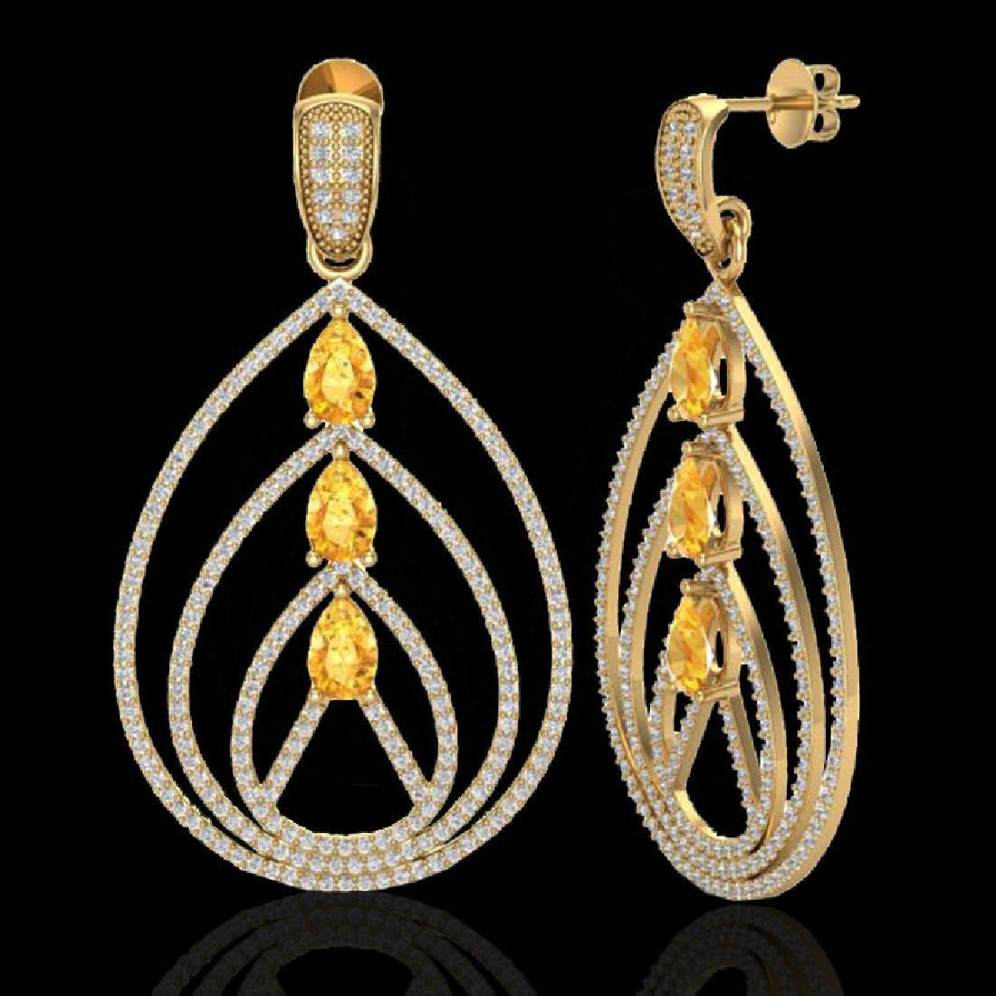4 CTW Citrine & Micro Pave VS/SI Diamond Earrings 18K - 2