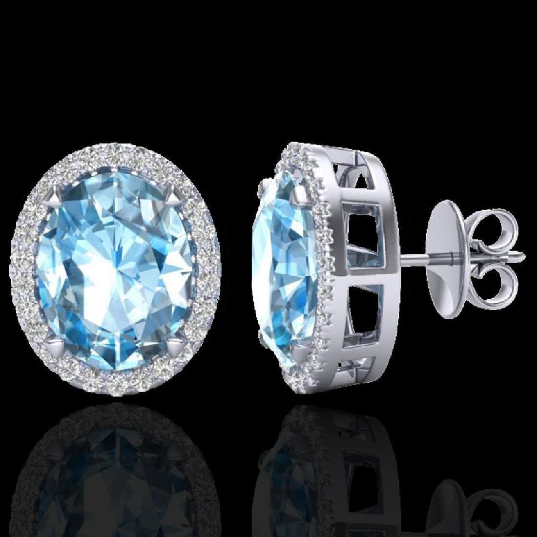 5.50 CTW Sky Blue Topaz & Micro VS/SI Diamond Halo - 2