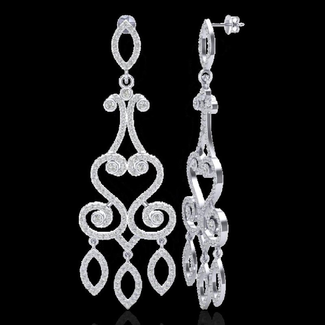 3.25 CTW VS/SI Diamond Micro Pave Designer Earrings 14K - 2