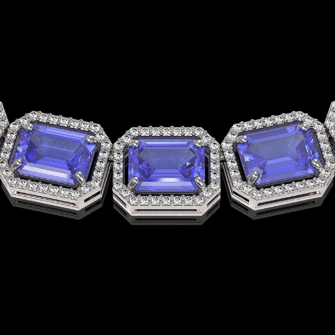 79.99 CTW Tanzanite & Diamond Halo Necklace 10K White - 3
