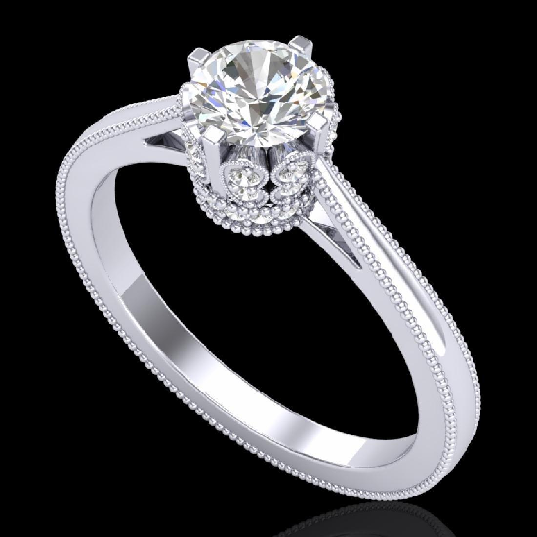 0.81 CTW VS/SI Diamond Art Deco Ring 18K White Gold