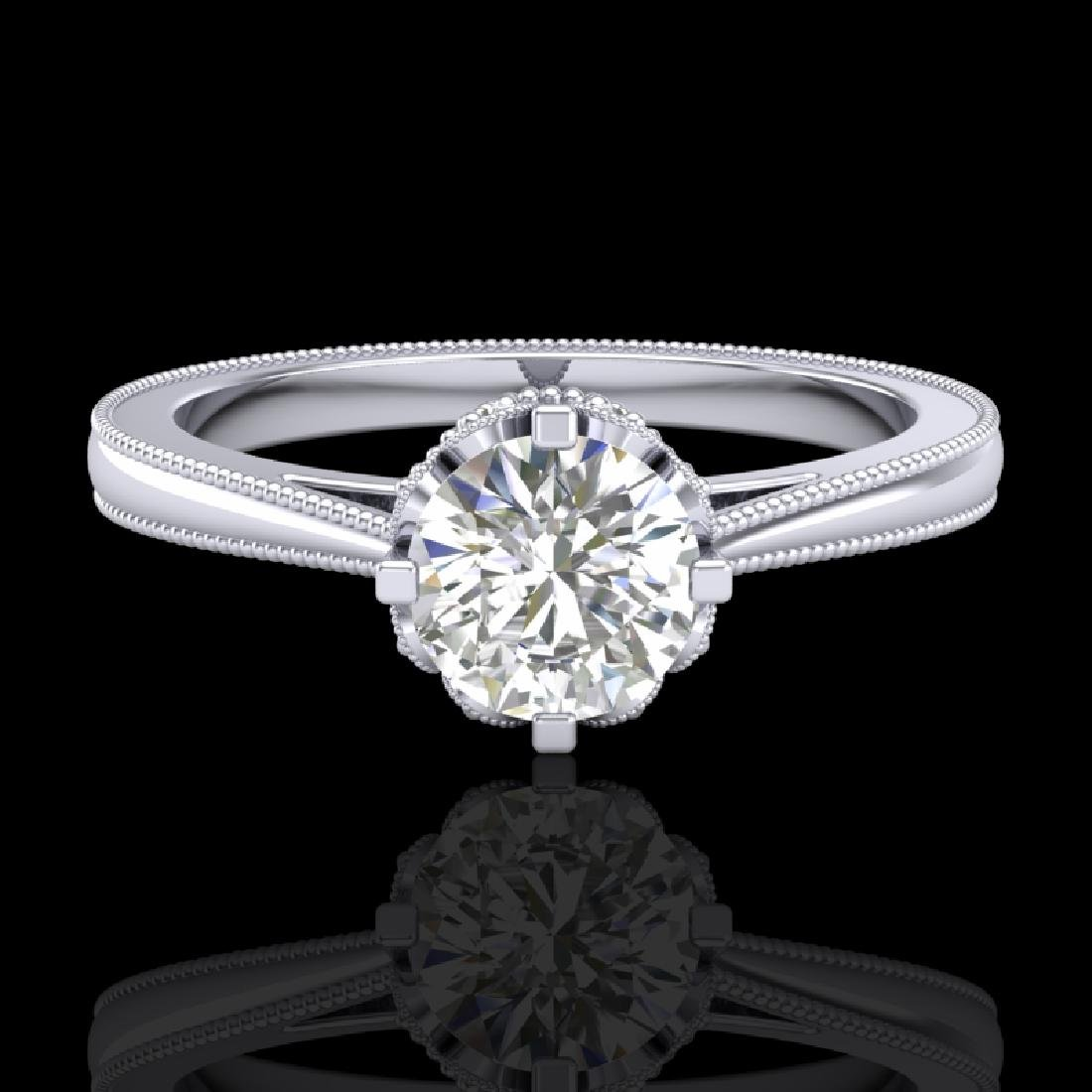 0.81 CTW VS/SI Diamond Art Deco Ring 18K White Gold - 2