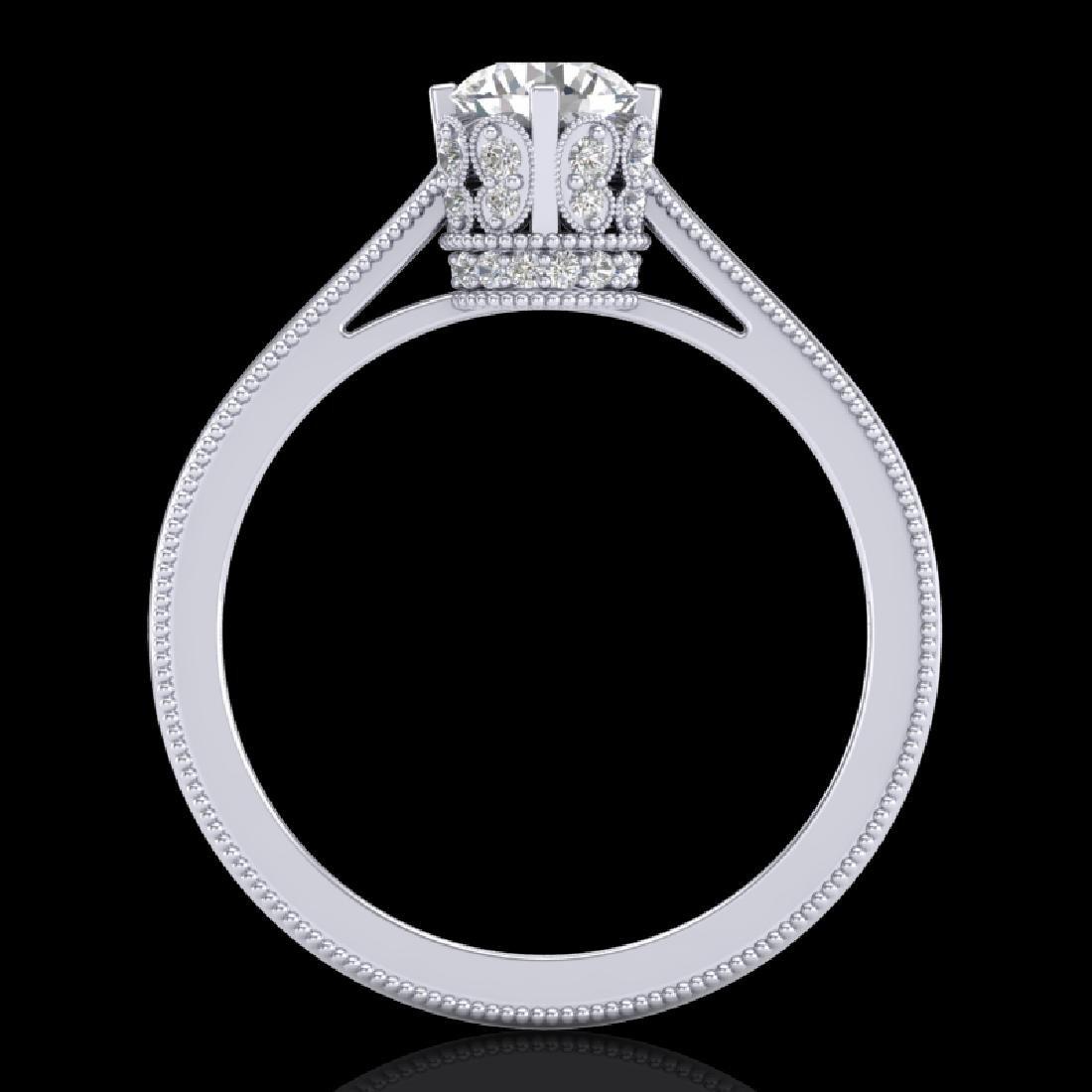 0.81 CTW VS/SI Diamond Art Deco Ring 18K White Gold - 3