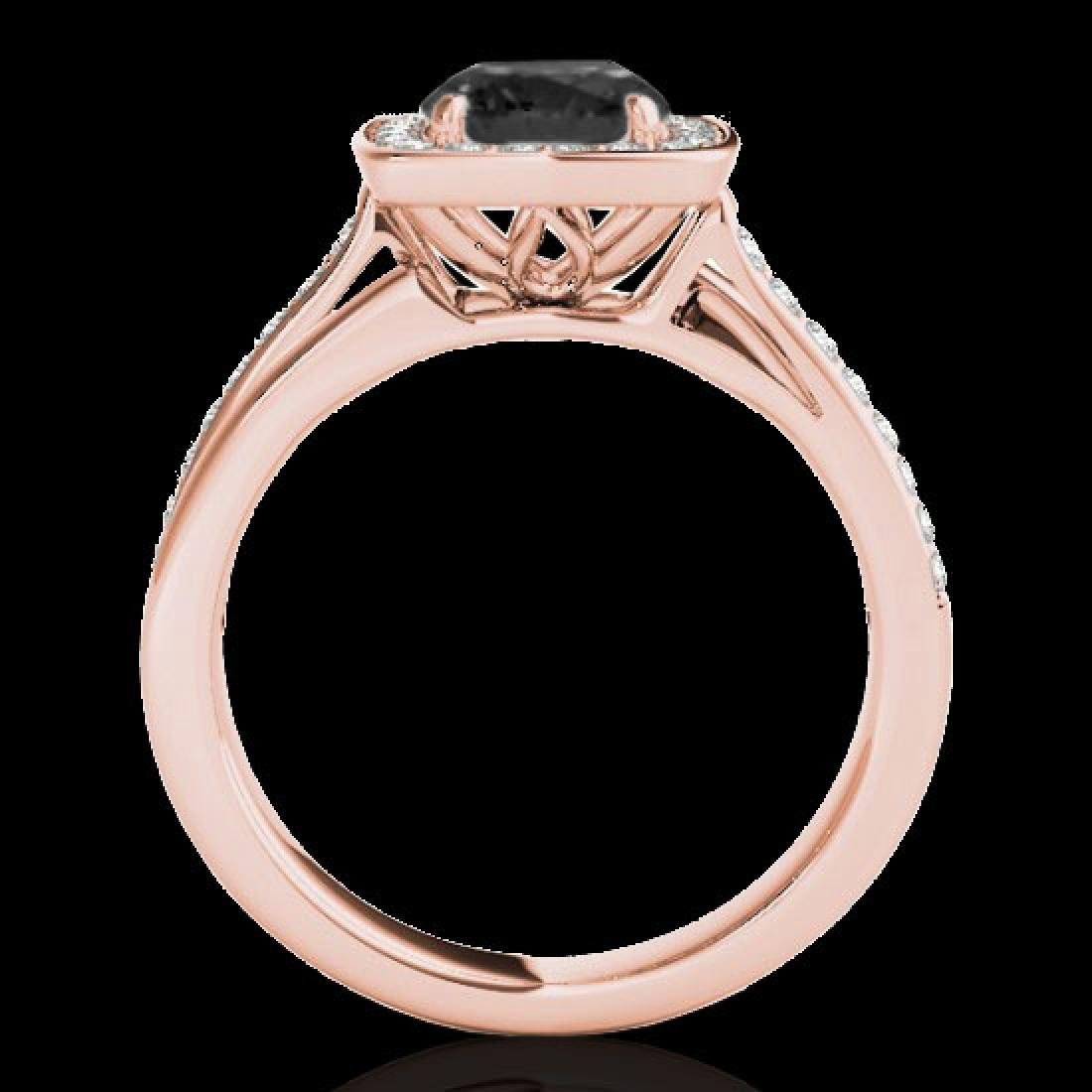 1.33 CTW Certified VS Black Diamond Solitaire Halo Ring - 2