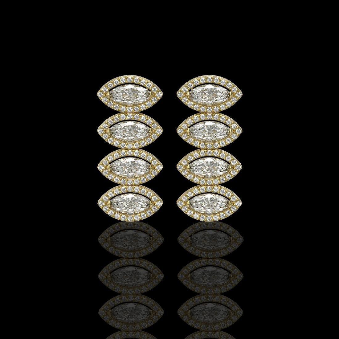 5.33 CTW Marquise Diamond Designer Earrings 18K Yellow