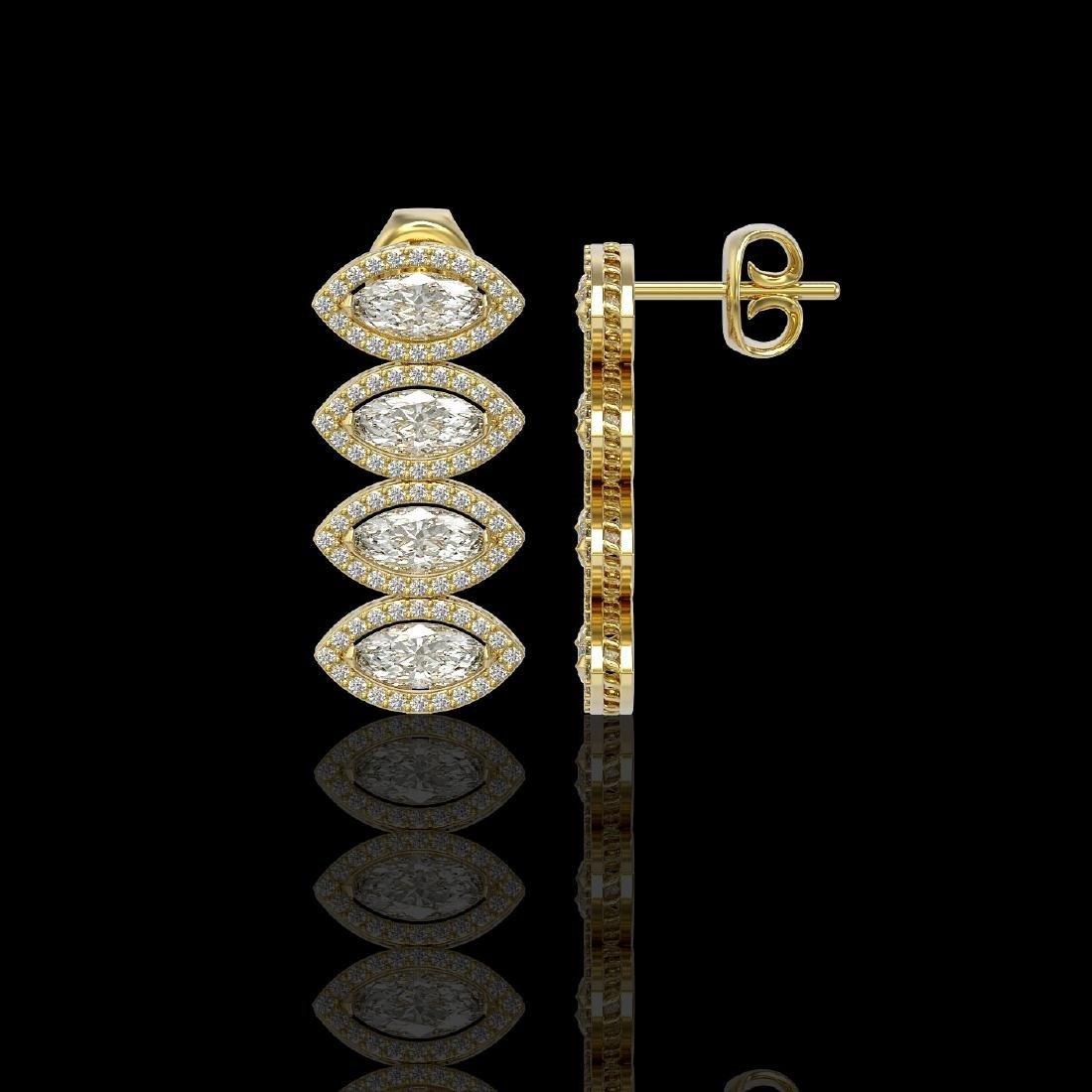 5.33 CTW Marquise Diamond Designer Earrings 18K Yellow - 2