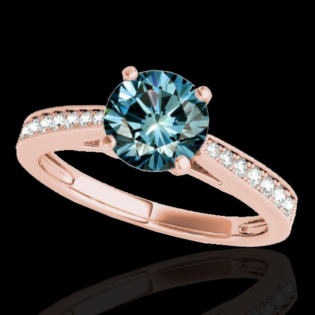 1.25 CTW SI Certified Fancy Blue Diamond Solitaire Ring