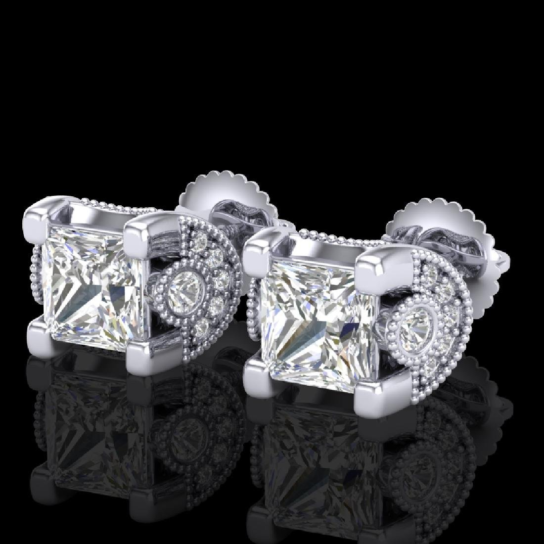 2.5 CTW Princess VS/SI Diamond Art Deco Stud Earrings