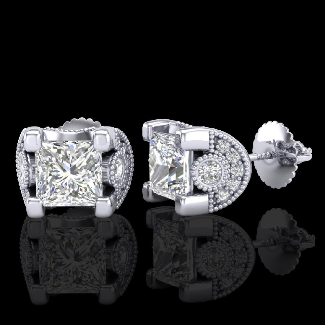 2.5 CTW Princess VS/SI Diamond Art Deco Stud Earrings - 2