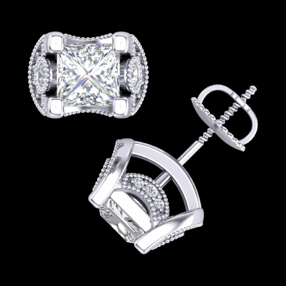 2.5 CTW Princess VS/SI Diamond Art Deco Stud Earrings - 3